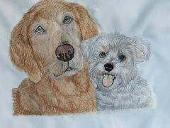 Two dogs free embroidery design