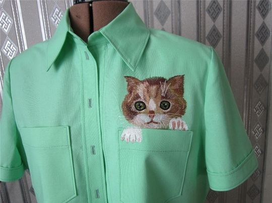 Cat in pocket embroidered design
