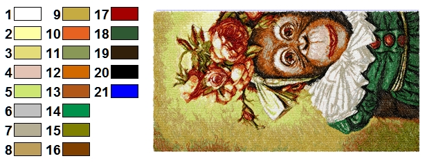 Color chart for monkey design