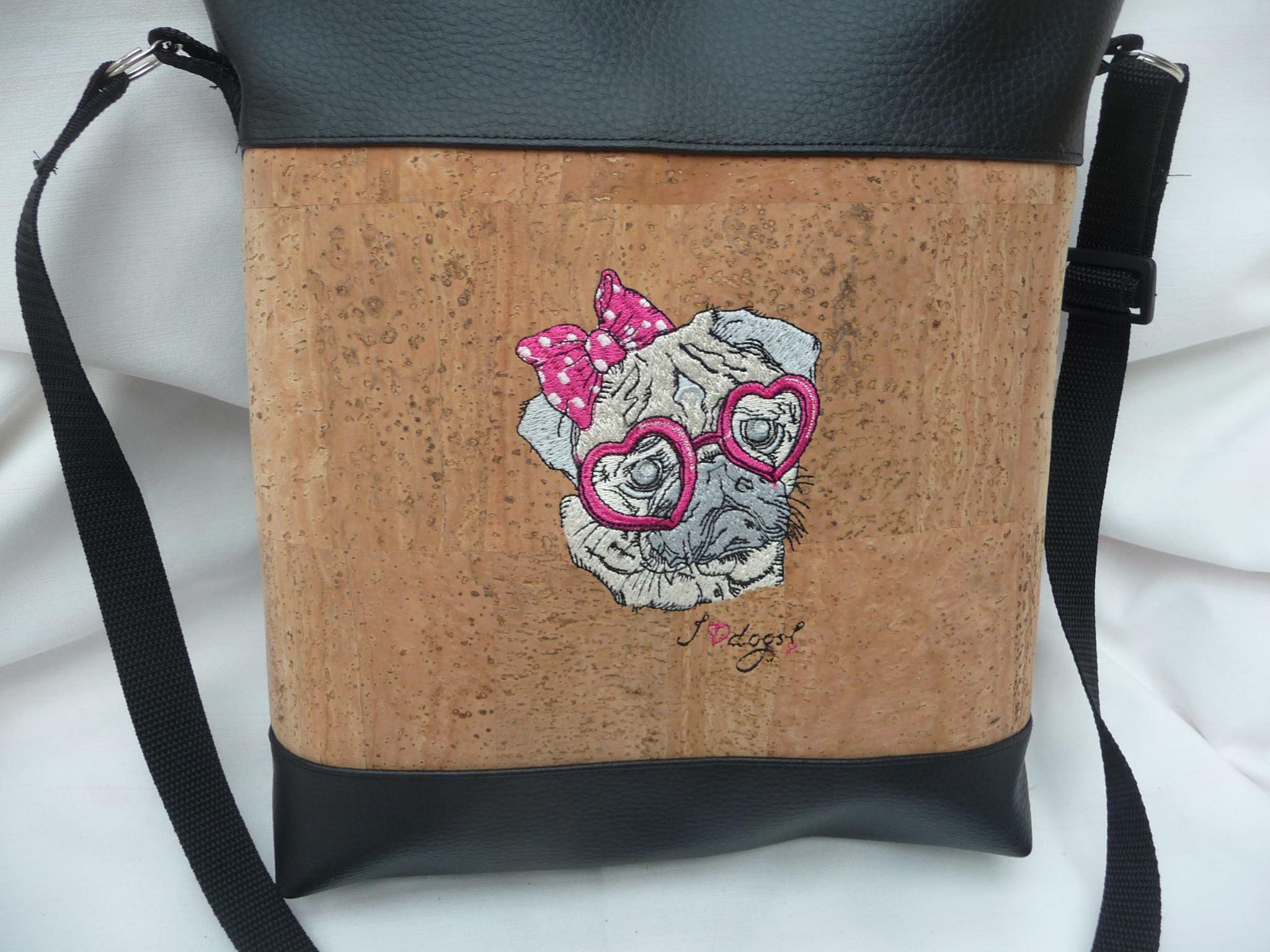Bag with Posh pug dog machine embroidery design