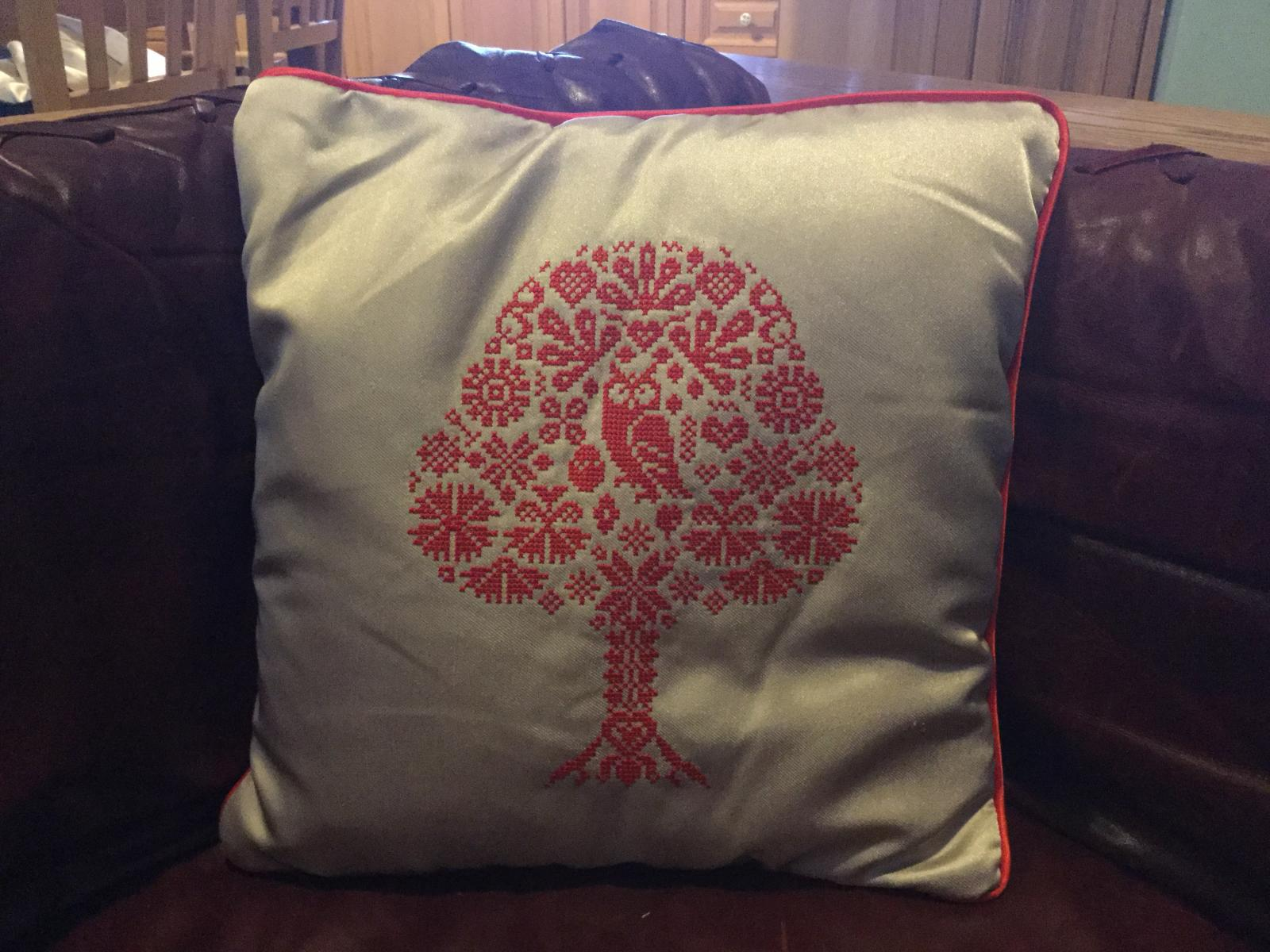 Cross stitch owl embroidered cushion