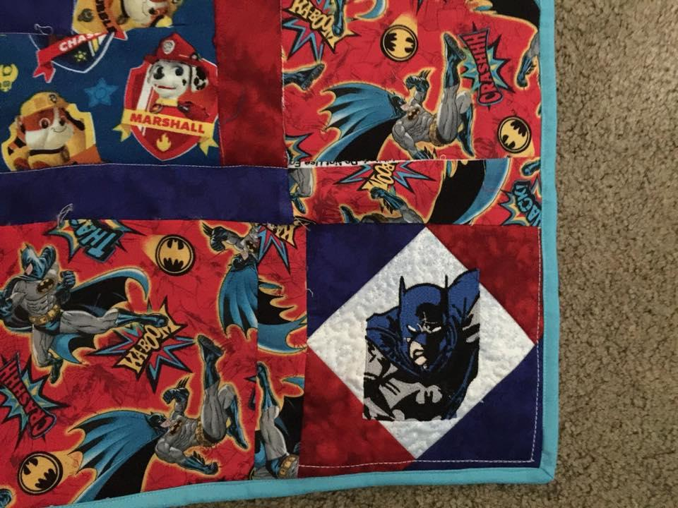 Quilt with Batman never sleeps embroidery design