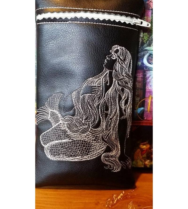 Leather case with Mermaid embroidery design