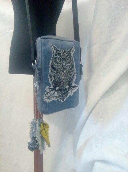 Embroidered bag with Tribal owl  design