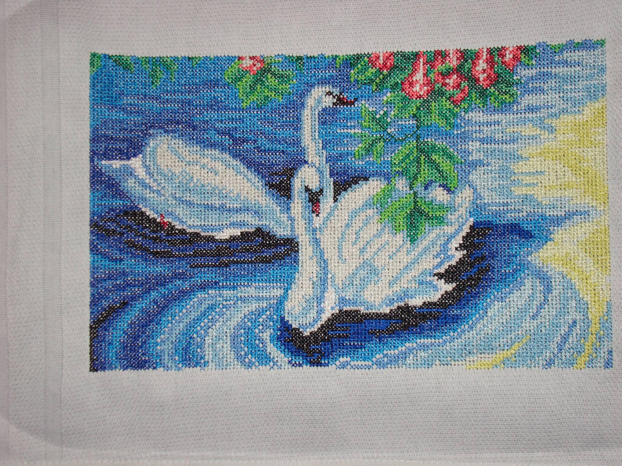 Two swans cross stitch embroidered design