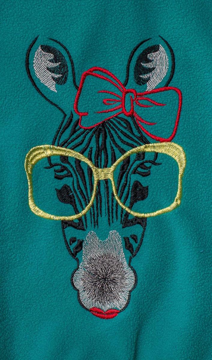 Zebra free embroidery showcase with