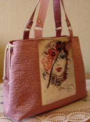 Bag with photo stitch for woman