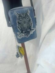 Handbag with Tribal owl machine embroidery design