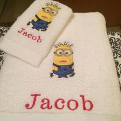 Towels with minion machine embroidery design