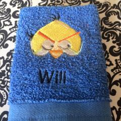 Towel with Angry Birds Chuck embroidery design