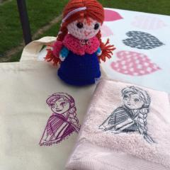 Towels with Anna sketch embroidery design