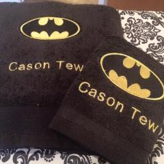 Towel with Batman logo embroidery design