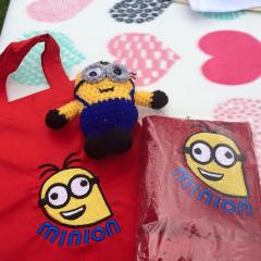 Towels with Crazy Minion embroidery design