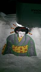 Geisha machine embroidery design