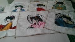 Napkins with Geisha embroidery designs