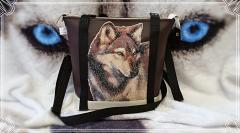 Embroidered bag with wolf photo stitch embroidery