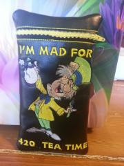Mobile case with Mad Hatter embroidery design