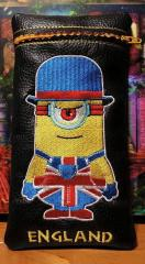 Leather case with Minion British style embroidery design