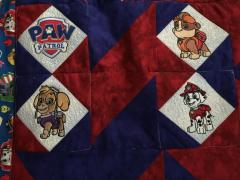 Big quilt with Paw Patrol machine embroidery design