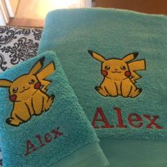 Towel with Pikachu embroidery design