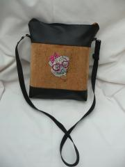 Hand bag with Posh pug dog machine embroidery design