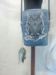 Boho style bag with Tribal owl machine embroidery design