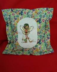Cushion with young fairy with frog embroidery design