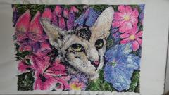 Cat in flower photo stitch free embroidery