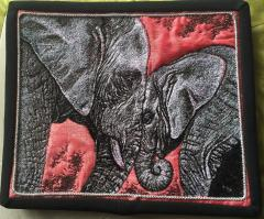 Cushion with two elephants photo stitch free embroidery