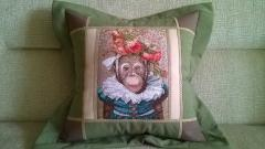 Embroidered cushion with monkey photo stitch free embroidery design