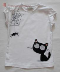 Embroidered shirt with kitty and spider free design