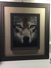 Framed wolf photo stitch free embroidery design