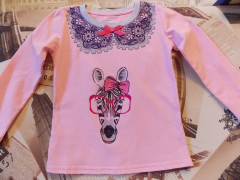 Girl's shirt with zebra free embroidery design