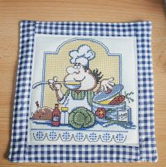 Hot pad with chef cross stitch free embroidery
