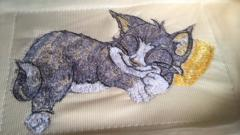 Sleeping cat photo stitch free embroidery design