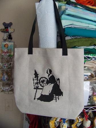 Shopping bag with cross stitch free embroidery design