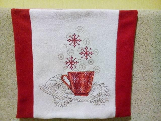 Cushion a cup full of Christmas wishes cross stitch free embroidery design
