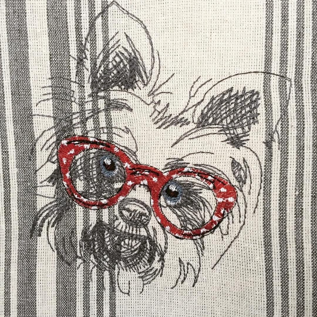White terrier machine embroidery design
