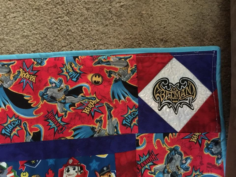 Quilt with Batman modern logo machine embroidery design