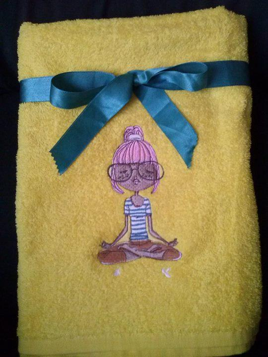 Bath towel with  loving yoga girl embroidery design