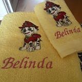 Two towels with Marshall embroidery design