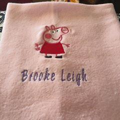 Towel eith Peppa Pig embroidery design