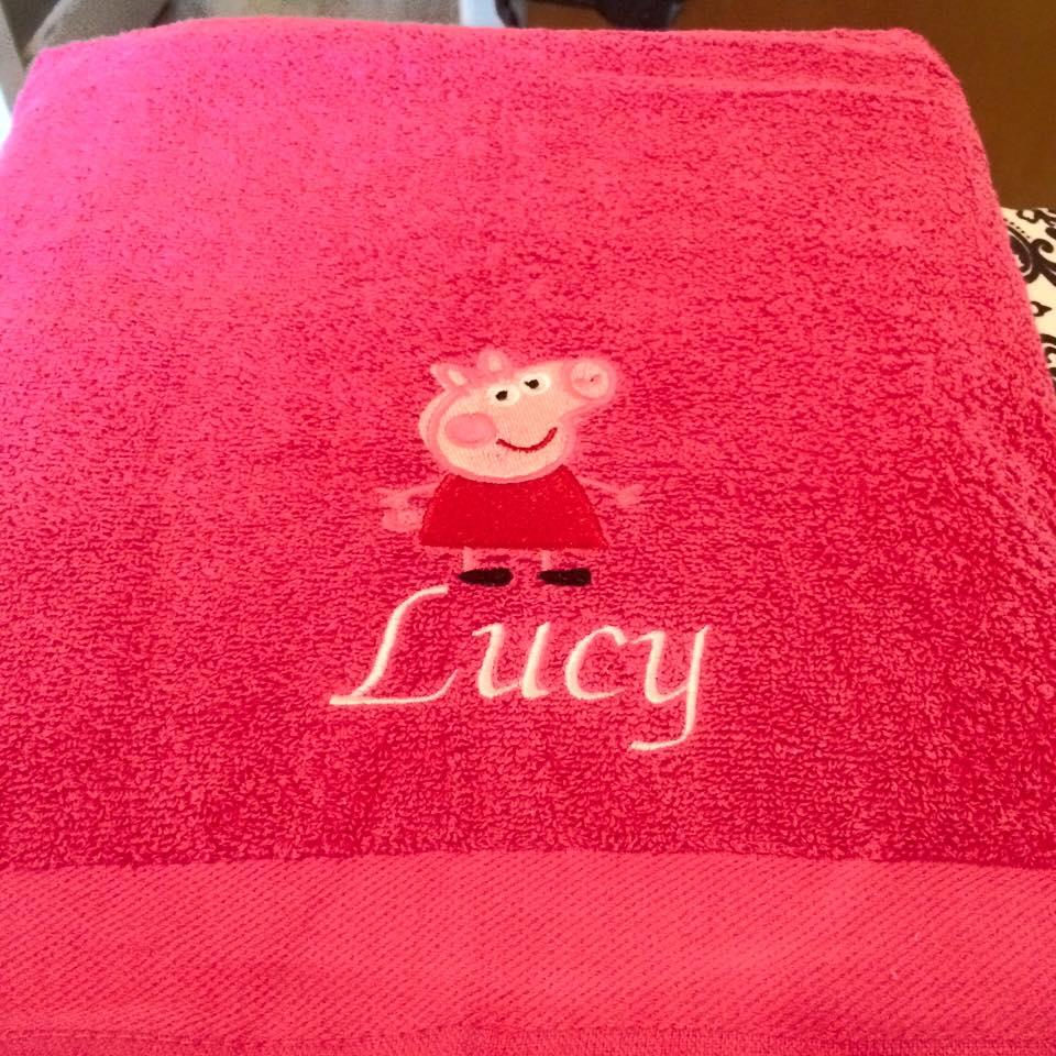 Towel with Peppa Pig embroidery design