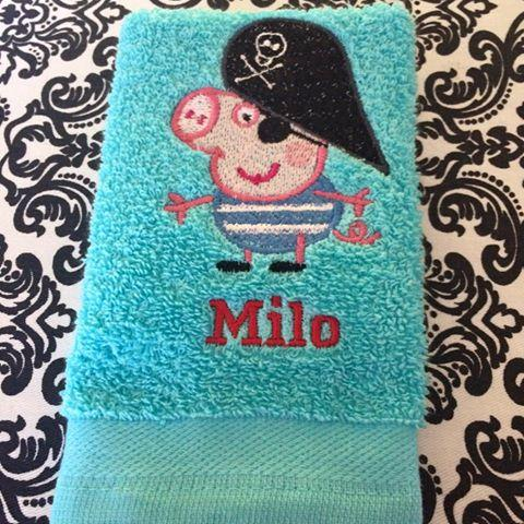 Towel with Peppa Pig pirate embroidery design