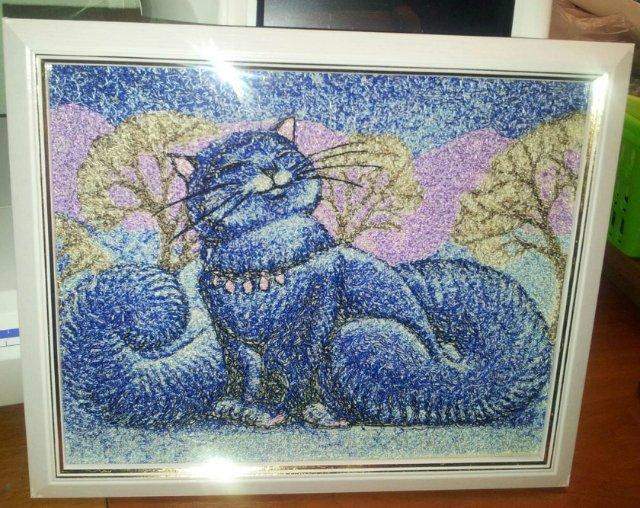 Framed snow cat photo stitch free embroidery design