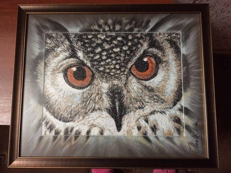 Framed owl photo stitch free embroidery