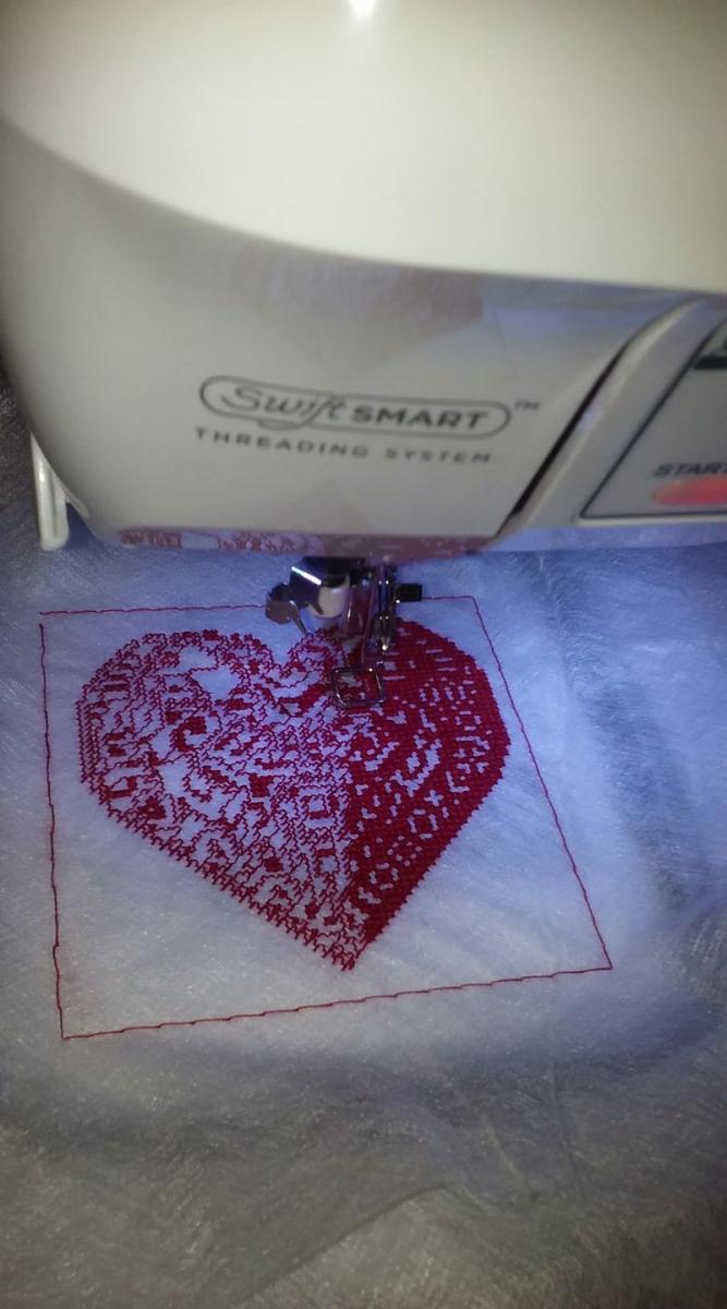 Heart cross stitch free embroidery