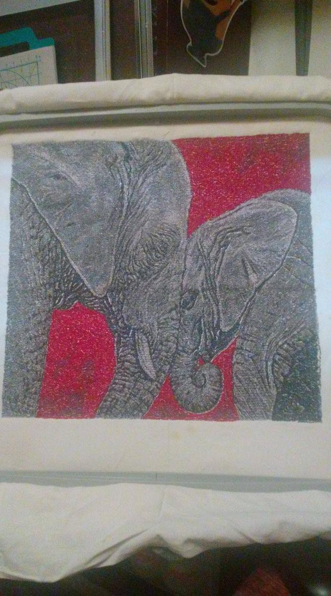 In hoop elephant photo stitch free embroidery