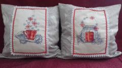 Two cushion with Christmas cross stitch free embroidery designs