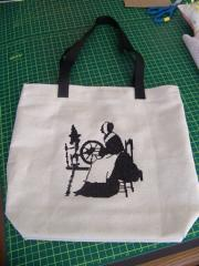 Bag with distaff cross stitch free embroidery